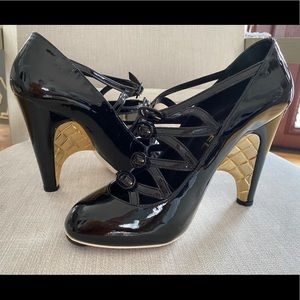 Caged Strappy Quilted Heel PatentLeather Pumps